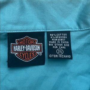 Harley-Davidson Tops - Harley Davidson solid blue button front 3/4 sleeve